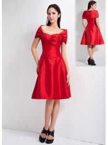 Lovely Red A-line Off The Shoulder Bridesmaid Dress Knee-length Taffeta
