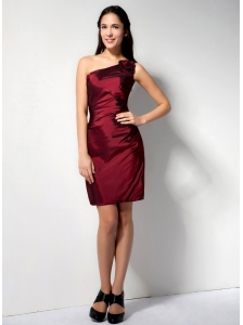 Low Burgundy Column One Shoulder Hand Made Flower Bridesmaid Dress Mini-length Taffeta