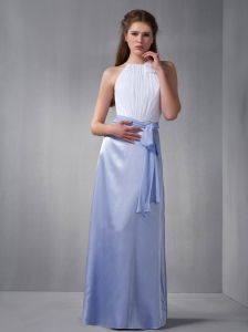 Luxurious and White Column Bateau Bridesmaid Dress Taffeta and Chiffon Hand Made Flower Floor-length