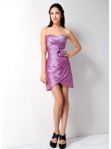 Modern Lavender Column Sweethear Hand Made Flower and Ruch Bridesmaid Dress Mini-length Taffeta