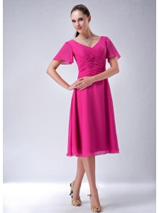 New Hot Pink A-line / Princess V-neck Bridesmaid Dress Chiffon Tea-length
