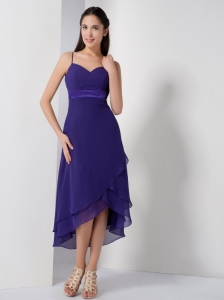 Pretty Purple High-low Bridesmaid Dress with Spaghetti Straps