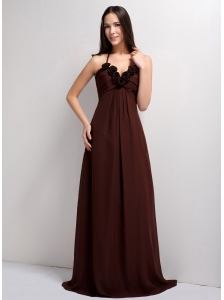 Romantic Brown Empire Straps Hand Made Flowers Bridesmaid Dress Brush Train Chiffon