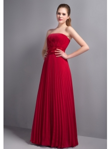 Romantic Red Empire Strapless Bridesmaid Dress Chiffon Pleat Floor-length