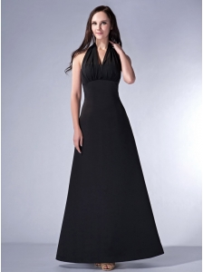 Simple Black Cloumn Halter Bridesmaid Dress Satin Ruch Ankle-length