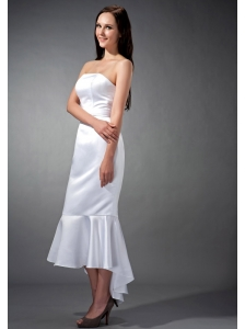 Simple White Mermaid Strapless Bridesmaid Dress Tea-length Elastic Woven Satin Ruch