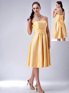 Special Gold Empire Strapless Bow Bridesmaid Dress Tea-length Satin
