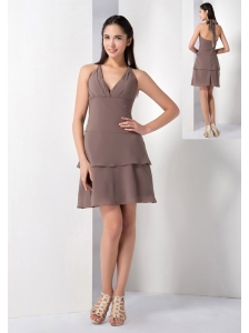 The Brand New Style Brown A-line Halter Bridesmaid Dress Chiffon Mini-length