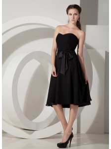 The Most Popular Black Princess Tea-length Bridesmaid Dress Chiffon Sashes / Ribbons