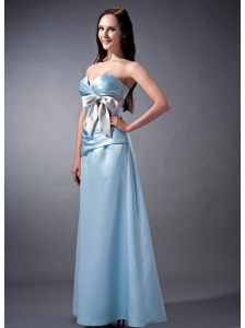 The Super Hot Baby Blue Cloumn Sweetheart Bridesmaid Dress Satin Ruch and Bow Ankle-length