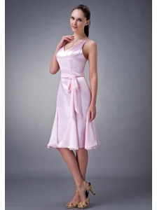 Wonderful Baby Pink Column / Sheath V-neck Bridesmaid Dress Elastic Wove Satin Sash Knee-length