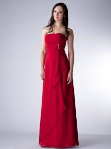 Wonderful Wine Red Column Strapless Bridesmaid Dress Chiffon Beading Floor-length