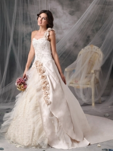 Champagne A-Line / Princess Wedding Dress One Shoulder Satin Hand Flowers Chapel Train