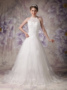 Chic A-line / Princess Wedding Dress Halter Tulle Beading Chapel Train