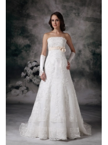 Custom Made A-line Strapless Lace Wedding Dress Bowknot Court Train