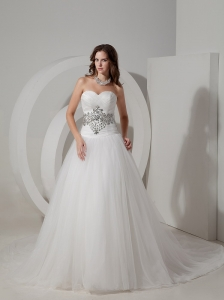 Custom Made A-line Wedding Dress Sweetheart Taffeta and Organza Beading Chapel Train