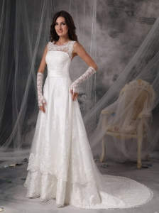 Custom Made Scoop A-Line / Princess Wedding Dress Taffeta Lace Court Train