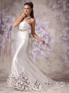 Custom Made Wedding Dress Mermaid Sweetheart  Elastic Woven Satin Beading Court Train