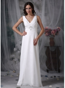 Custom Made White Beach Wedding Dress Column / Sheath V-neck  Chiffon Beading  Floor-length