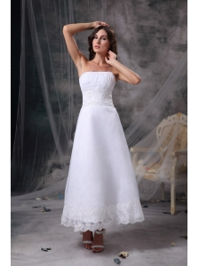 Custom Made White Beach Wedding Dress Column Strapless Satin Beading and Ruch Tea-length