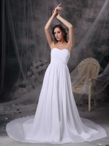 Custom Made White Empire Sweetheart Beach Wedding Dress Chiffon Ruch  Court Train