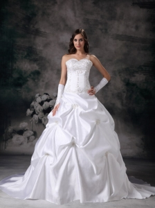 Customize A-line Sweetheart Wedding Dress Taffeta Embroidery with Beading Court Train