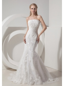 Customize Beautiful Mermaid Strapless Wedding Dress Lace and Taffeta Beading Chapel Train