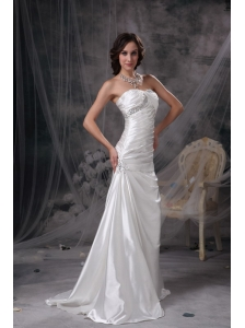 Customize Ivory Wedding Dress Column Strapless Taffeta Beading and Ruch Brush Train