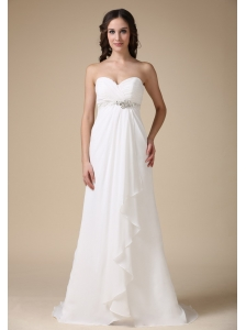 Elegant Empire Sweetheart Beach Wedding Dress Chiffon Beading Brush Train