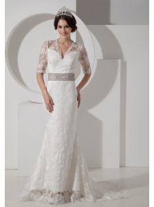 Informal Column V-neck Lace Wedding Dress Belt Brush Train