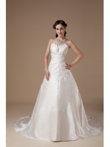 Ivory A-line Strapless Wedding Dress Appliques Satin Court Train