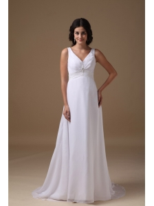 Lovely Empire V-neck Beach Wedding Dress Chiffon Beading Brush Train