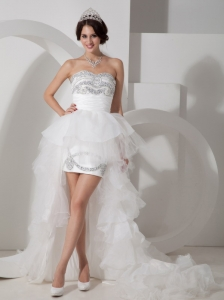 Lovely High-low Tulle Wedding Dress with Beading for Summer