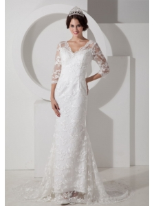 Low Price Mermaid V-neck Lace Wedding Dress Brush Train