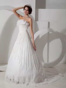 Modest Wedding Dress A-line Strapless Satin and Lace Appliques Brush Train