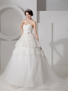 Popular A-line Sweetheart Lace Wedding Dress Tulle Sash and Beading Court Train