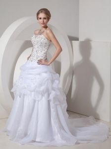 Popular A-line Wedding Dress Strapless Organza Beading and Hand Made Flowers Court Train
