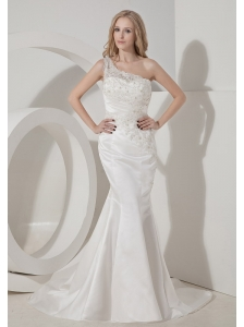 Sexy Mermaid One Shoulder Wedding Dress Satin Lace Chapel Train