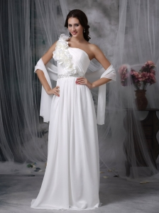 Simple Empire Beach Wedding Dress One Shoulder Brush Train Chiffon Beading
