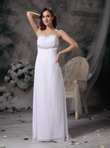 White Empire Sweetheart Beach Wedding Dress Chiffon Beading Brush Train