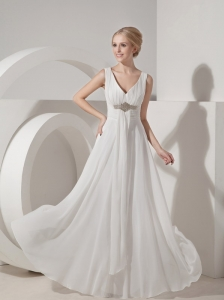 White Empire V-neck Beach Wedding Dress Chiffon Beading Floor-length