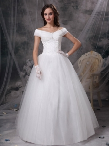 Beautiful A-line Off The Shoulder Low Cost Wedding Dress Appliques Satin and Tulle Floor-length
