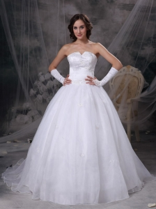 Beautiful A-line Strapless Wedding Dress Satin and Organza Embriodery Brush Train