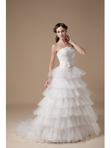 Beautiful A-line Strapless Wedding Dress Taffeta and Organza Hand Made Flower and Appliques Brush Train