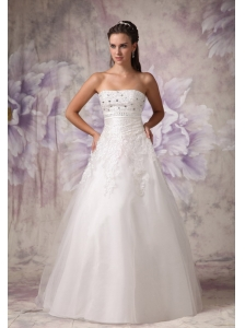 Beautiful A-line Strapless Wedding Dress Tulle Beading Floor-length