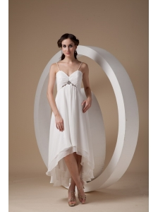 Beautiful Empire Spaghetti Straps Short Wedding Dress High-low Chiffon Ruch