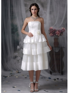 Beautiful Empire Strapless Short Wedding Dress Organza Hand Made Flower Tea-length