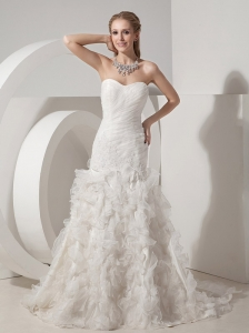 Beautiful Mermaid Sweetheart Wedding Dress Organza Appliques Court Train