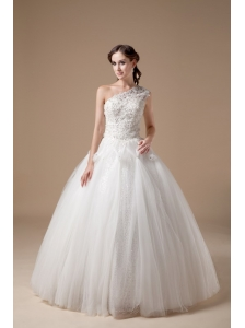 Best Ball Gown Wedding Dress One Shoulder Satin And Tulle Appliques Floor-length
