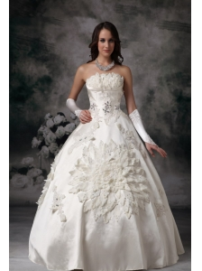 Classical Wedding Dress Ball Gown Strapless Satin Appliques Floor-length